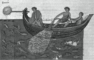 Απεικόνιση ψαράδων της αρχαιότητας