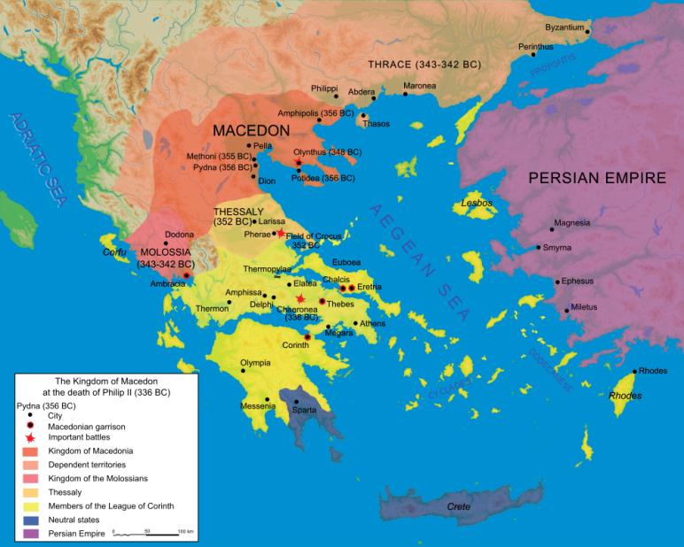 Το βασίλειο της Μακεδονίας -ερυθρά περιοχή- αμέσως μετά τον θάνατο του Φιλλίπου Β΄. Η Κορινθιακή συμμαχία απεικονίζεται με κίτρινο.