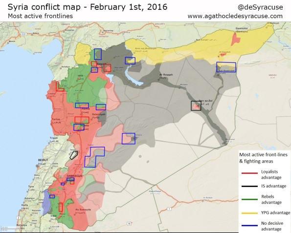 Syria-1-Feb-2016-Most-active-fronts