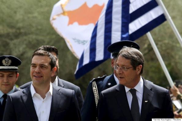 Cypriot President Nicos Anastasiades (R) and Greek Prime Minister Alexis Tsipras.